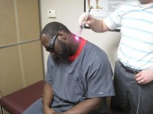 cold laser on the neck and shoulder.