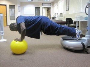 Forearm exercises with exercise ball
